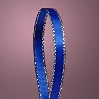 "Royal Blue Satin Ribbon with Silver Border, 1/4"" X 50Yd"