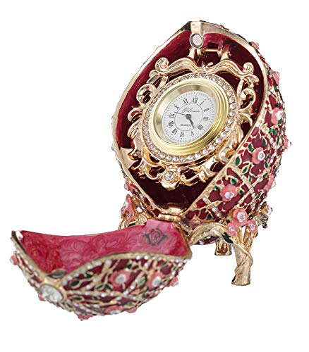 danila-souvenirs Russian Faberge Style Rose Trellis Egg/Trinket Jewel Box with Clock 3.8'' red