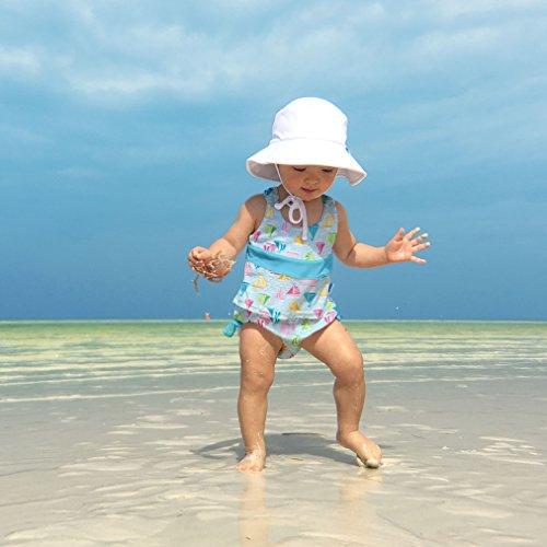 I play. Baby Girls 2pc Bow Tankini Swimsuit Set With Snap Reusable Absorbent Swim Diaper, Light Aqua Sailboat Sea, 12mo