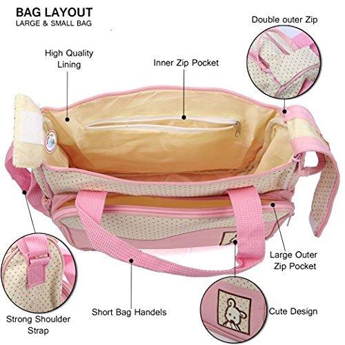 Bebé bolsas multifunción bebé pañal pañales bolsa/momia Cambio Set Bolso 5piezas GN empresas rosa rosa rosa