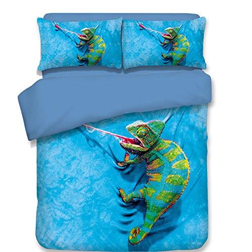 Lizard Twin Little Bed (Koongso 3D Reptile Digital Print Bedding Sets Reversible 3 Pieces Blue Lizard Print for Kids Boys Teens Duvet Cover Set,Twin/Full/Queen/King Size)