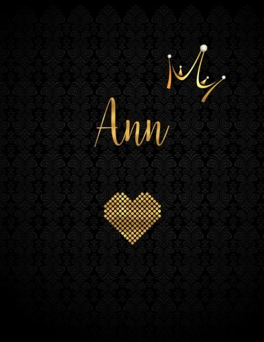Ann: Personalized Black XL Journal with Gold Lettering, Girl Names/Initials 8.5x11, Journal Notebook with 110 Inspirational Quotes, Journals to Write In for Women (Journals and - Ann Journal