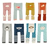 CHUNG Baby Toddler Boys Girls Cotton Footless Ankle Length Tights Soft Stretchy 6M-4Y (2-4Y, Lamb/Gray)