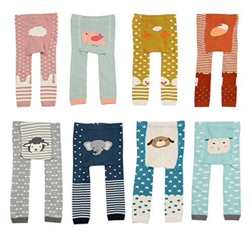CHUNG Baby Toddler Boys Girls Cotton Footless Ankle Length Tights Soft Stretchy 6M-4Y (6-24M, 4 Pack Girls Color)