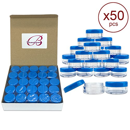 50 Pieces Blue Plastic Cosmetic Sample Container 5 Grams Jar