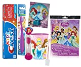 Disney Princess 6pc All Inclusive Girls Bathroom Collection! Toothbrush, Toothpaste, Brushing Timer, Rinse Cup, Night Light & Reward Tattoos! Plus Bonus ''Remember to Brush'' Visual Aid!