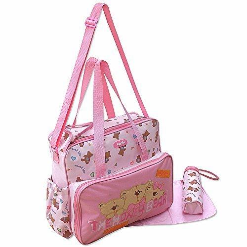GMMH 3 tlg Baby Farbe rosa Wickeltasche Pflegetasche Windeltasche Babytasche Reise Farbauswahl