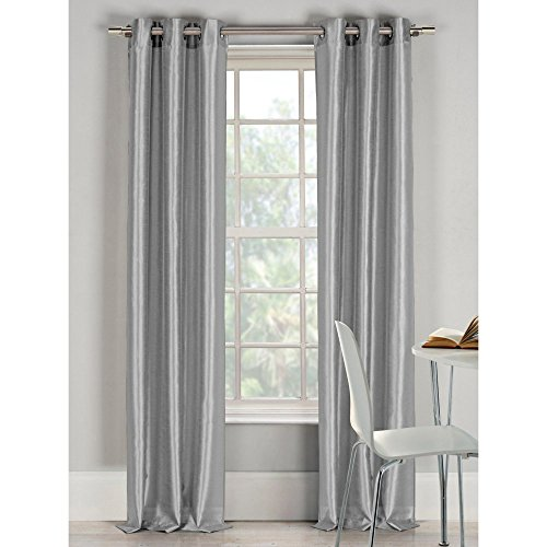 Duck River Textiles Bali Faux Silk Grommet Pair Panel, Silver(76 BY 84 IN.)