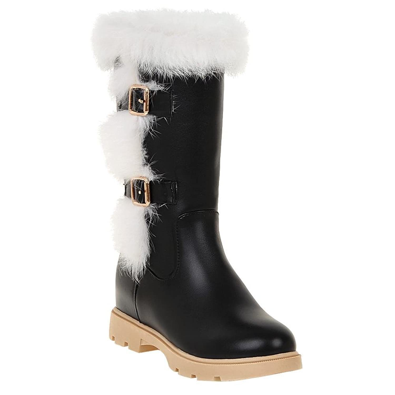 Show Shine Women's Buckles Platform Hidden Heel Snow Boots