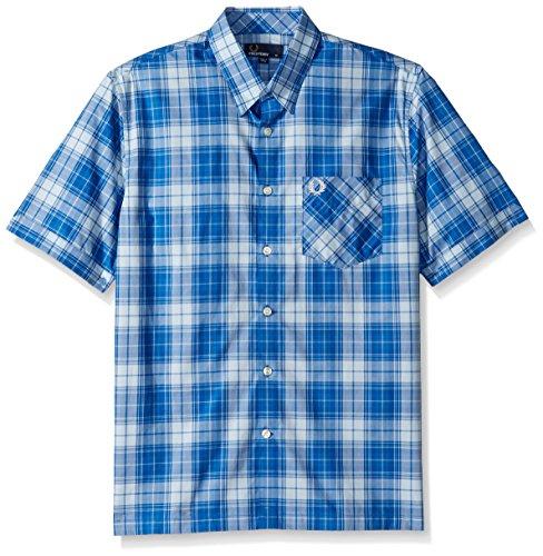 Fred Perry Gingham Shirt - Fred Perry Men's Bold Tartan Shirt, Sky, Medium