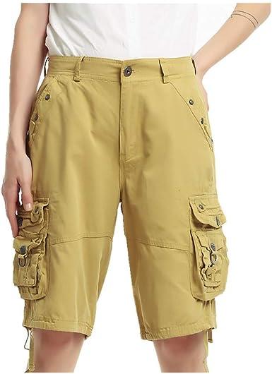 U A Pantalones Cortos De Algodon Para Mujer Varios Bolsillos Holgados De Cinco Puntos Amazon Es Ropa Y Accesorios