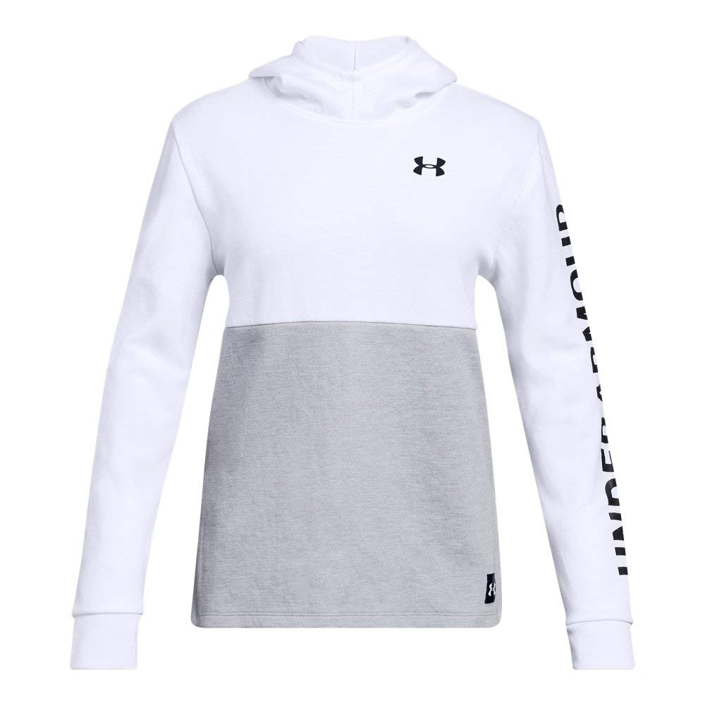 Under Armour Girls Double Knit Hoodie, White (100)/Black, Youth Small