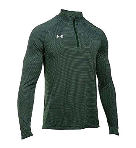 Under Armour Men's Stripe Tech 1/4 Zip Pullover, Green, Medium