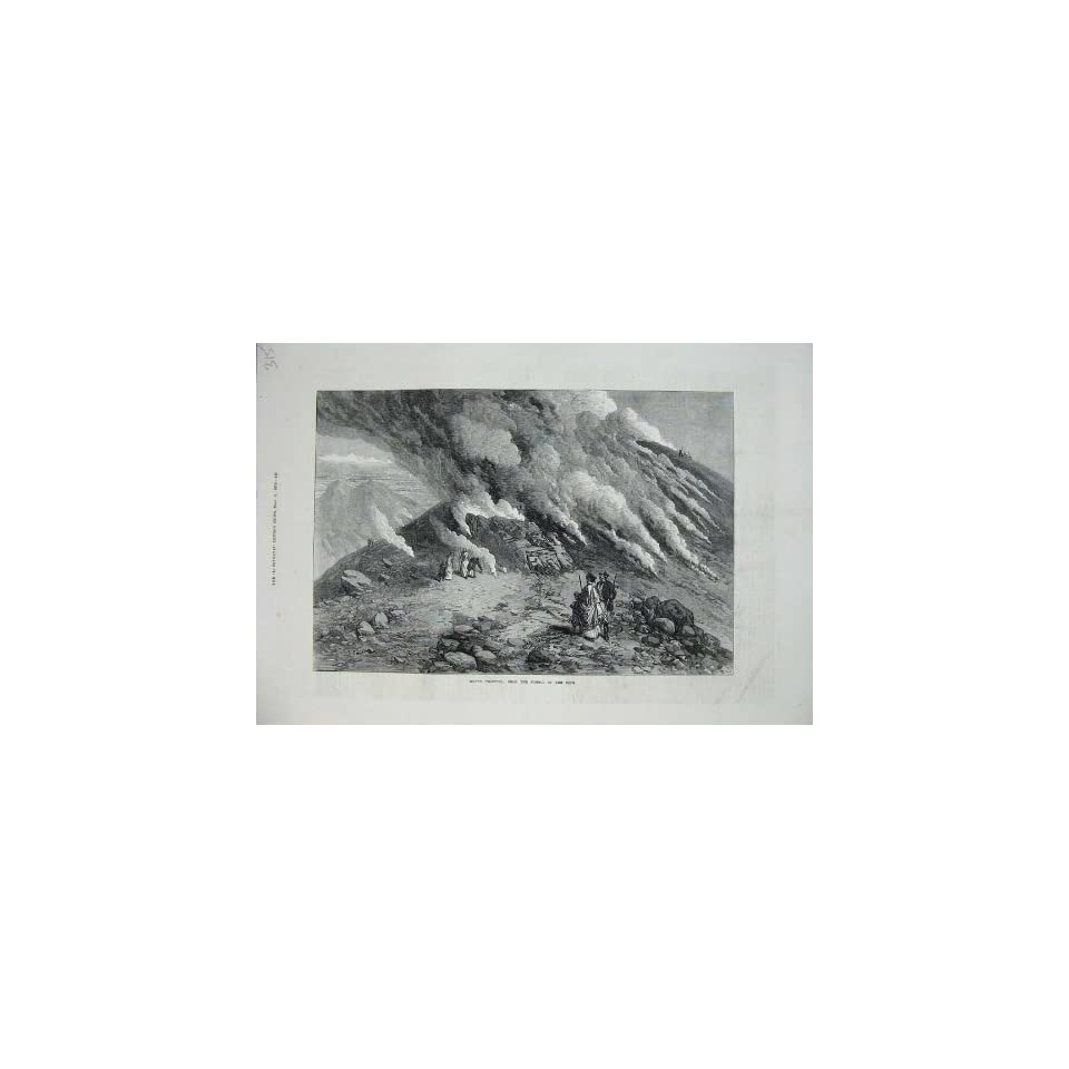 1872 View Summit Cone Mount Vesuvius Volcano Mountain