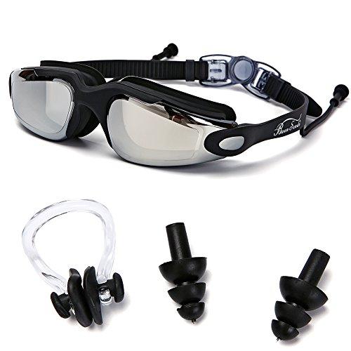 Baen Sendi Swimming Goggles with Siamese Ear Plugs - UV Protection Anti Fog - Best Adult Swim Goggles - Glasses Remove From Scratches Prescription