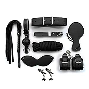MAMIYA 8PCS S&M Kit Alternative Flirting Toys Plush Leather Handcuffs Mask Whip Clips Rope SM Tools (Black)