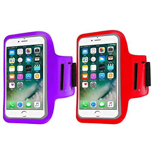 2 Pack Armband Sweatproof Running Armbag Gym Fitness Workout Cell Phone Case Key Holder Compatible with iPhone X/XS/XS MAX/XR/ 8 7 6 6s Plus Galaxy S9 S8 Edge Plus,Phone Diagonal 5.3