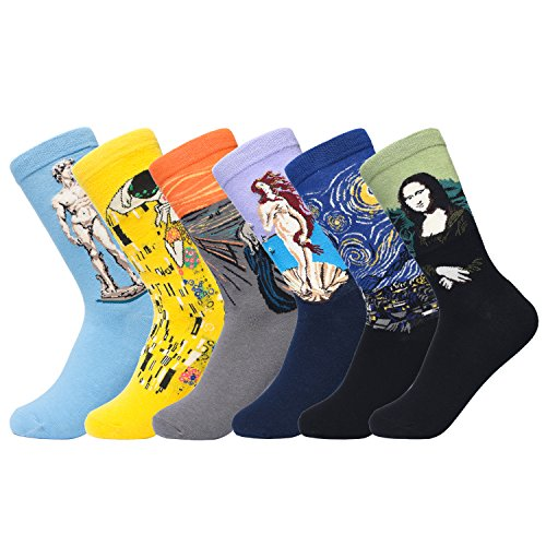 6 Pairs Womens Socks Crew Paintings Art For Women Cute Animal Funky Cartoon Casual Cozy Cotton Socks  Multicolor C