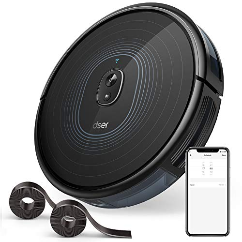Robot Vacuum, dser 2200Pa Robotic Vacuum Cleaner, Wi-Fi Connected, 2 Boundary Strips, Scheduling, App Control Multiple Cleaning Mode for Hard Floor Carpets (RoboGeek 23T)