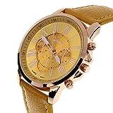 Coromose Luxury Style Women's Geneva Roman Numerals Faux Leather Analog Quartz Wrist Watch