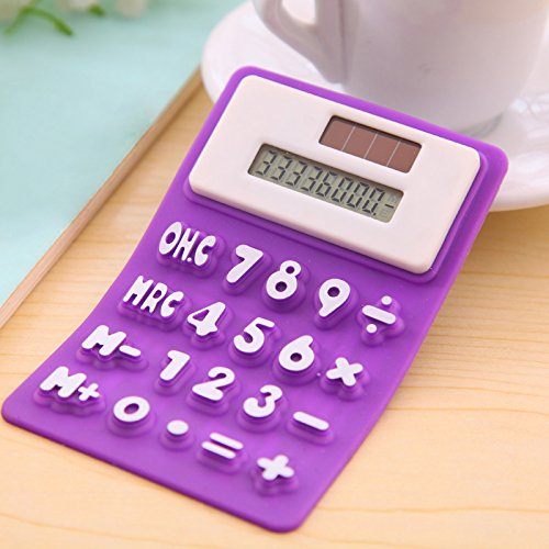 TOOGOO Creative magnetic Solar Power 8 Digit Silicone Pocket Calculator Office Stationery purple