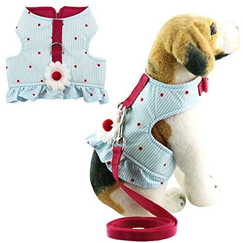 Bolbove Soft Pet Lovely Daisy Stripes Vest Harness and Leash Set for Cats Dogs Blue (X-Small)