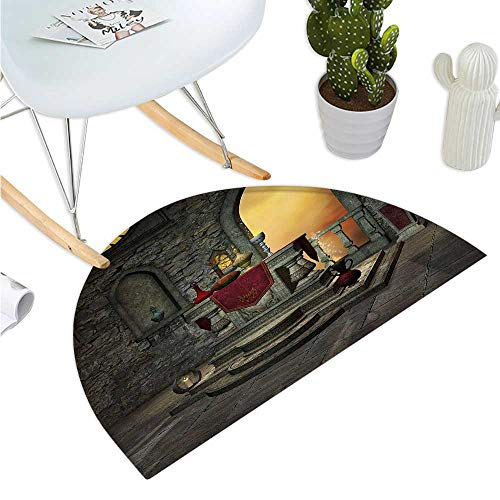 Gothic Semicircular Cushion Ancient Altar Table in Castle Baroque Era Inspired Alchemy Wizard Design Entry Door Mat H 15.7