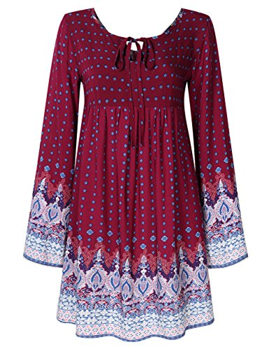 YesFashion Women Bohemian Vintage Floral Printed Ethnic Loose Casual Dress Burgundy (Paisley Empire Shirt)