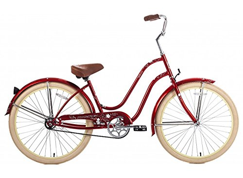 Steel Frame, Micargi Sakura 1-speed (Red/vanilla) Women's 26 Beach Cruiser Bike by Micargi B00B47AGMU