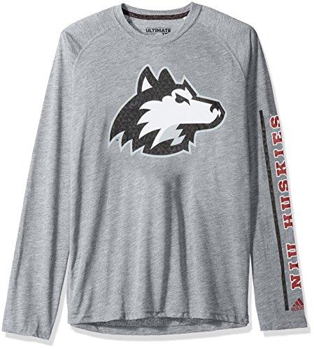 (adidas NCAA Northern Illinois Huskies Adult Men sleeve Play Ultimate L/S Tee, Small, Medium Grey Heather)