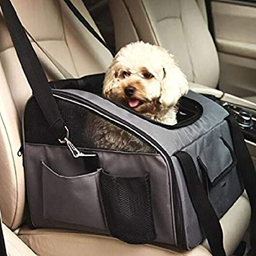 Adorrable Pet Travel Carriers Soft Sided Portable Bags for Dogs Cats Tote Airline Approved Under Seat,Grey,Small(14.96″ 12.60″ 9.45″)