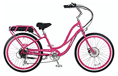 "Pedego Comfort Cruiser 26"" Step Thru Raspberry with White Wall Tires 36V 15Ah"
