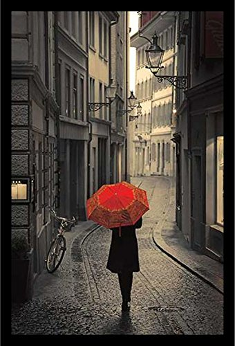buyartforless IF IC C783 36x24 1.25 Black Framed Red Rain (Strolling Down Cobblestone Street) by Stefano Corso 36X24 Art Print Poster