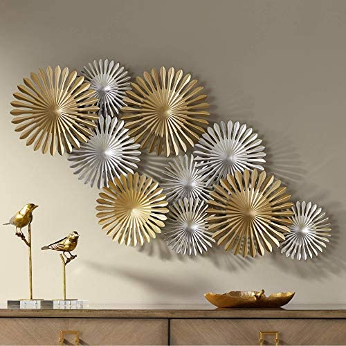 Newhill Designs Sparks 45″ Wide Gold and Silver Metal Wall Art