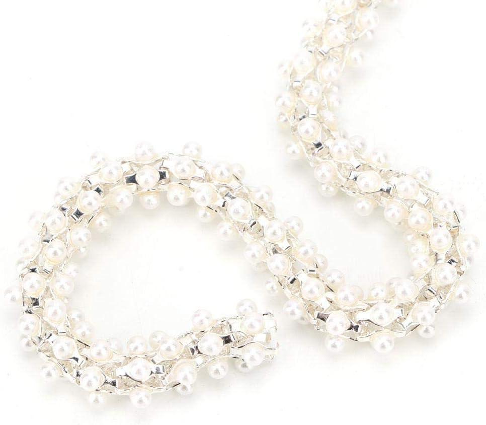 HEEPDD 1 Yard Faux Perle Perlen Kette Trim Gold DIY Kristallglas Bohrkette N/ähen Borte f/ür Kleidung M/öbel Dekoration Zubeh/ör