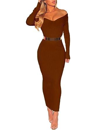 2092d7de1e Boutiquefeel Womens Off Shoulder Ribbed Long Sleeve Bodycon Maxi Dress:  Amazon.co.uk: Clothing