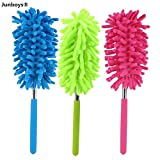 """3 Pack Microfiber Duster with Extension Pole Reach 30"""" Extendable Hand Dusters Washable Dusting Brush Retractable Set with Hypoallergenic Large Microfiber Head for Cleaning Car, Ceiling Fans, Cobweb."""
