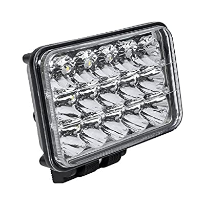 ONLINE LED STORE 4x6 45W LED Headlight H4 socket High/Low Beam Rectangular Sealed Beam Assembly (H4651 H4652 H4656 H4666 H6545 Replacement)