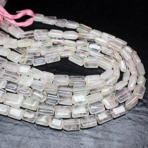 Beads Bazar Natural Beautiful jewellery 5 Strand Rose Quartz Smooth Rectangle Chiclet Gemstone Loose Craft Beads 14