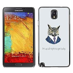 Funny Up All Night Owl - Metal de aluminio y de plástico duro Caja del teléfono - Negro SAMSUNG Galaxy Note 3 III / N9000 / N9005