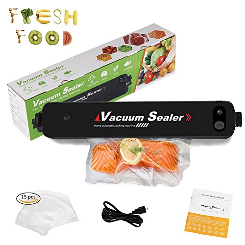Vacuum Sealer Machine, DaskFire Food Vacuum Packing Machine with Hose Automatic Vacuum Sealing System for Sous Vide Cook, Compact Vacuum Sealer With 15pcs Sealer Bags