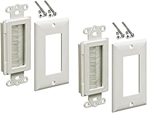 iMBAPrice 1-Gang Brushed Wall Plate - Decora Style Cable Pass Through Insert for Wires Wall Socket Plug Port/HDTV/HDMI/Home Theater Systems and More - White (Pack of 2)