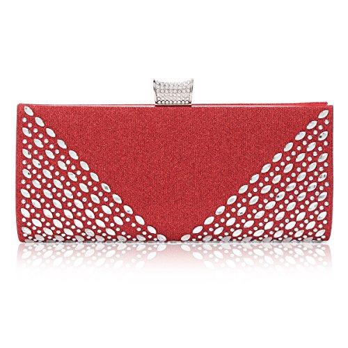 Damara Lujo Mujeres Embrague De Bolso Con Diamante Artificial Para Fiesta Boda,Rojo Rojo