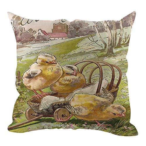 kaifongfu Easter Cotton Linen Square Home Decorative Throw Pillow Case Sofa Waist Cushion Cover ()