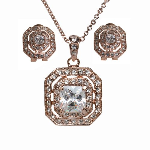 FAIRY COUPLE Square Princess Cut Cubic Zirconia Crystals Stud Earring and Pendant Necklace Jewelry Set S43 by FAIRY COUPLE