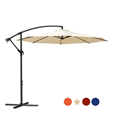 MASVIS 9' Patio Umbrella Market Outdoor Umbrella with Push Button Tilt and Crank (10FT, Beige 10FT)