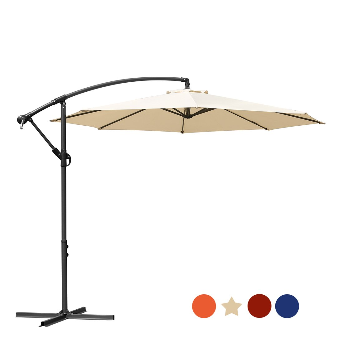 MASVIS Offset Umbrella 10 Ft Cantilever Patio Umbrella Outdoor Market Umbrellas Crank with Cross Base, 8 Ribs (10FT, Beige) by MASVIS (Image #1)