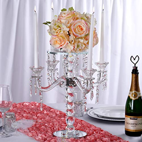 "Efavormart 15"" Handcrafted Crystal Glass Candelabra Votive Taper Flower Holder with Crystal Chains"