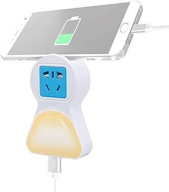 LED Nachtlicht Steckdose USB onehous Dämmerungssensor LED Nachtlicht mit Steckdose und USB Ladegerät, Warmlicht Weißlicht & OFF 4 Modus LED