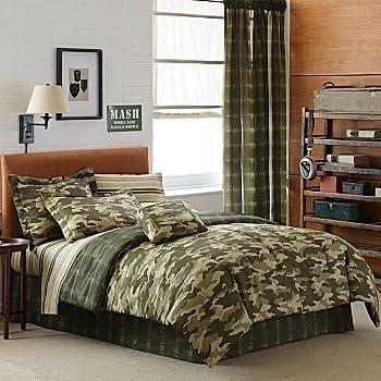 Amazon Com Teen Boy Green Brown Camouflage Queen